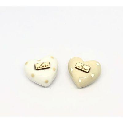 1 PZ Calamita Magnete Cuore In porcellana a pois LOVE 4 cm BOMBONIERA