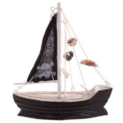 Decorazione In legno Barca a vela di colore nero con simbolo dei PIRATI