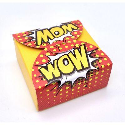 Scatolina portaconfetti POP ART - WOW sfondo giallo BOMBONIERA