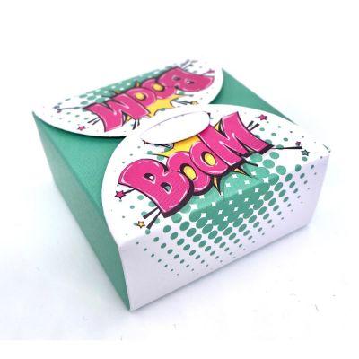 Scatolina portaconfetti POP ART - BOOM sfondo VERDE BOMBONIERA