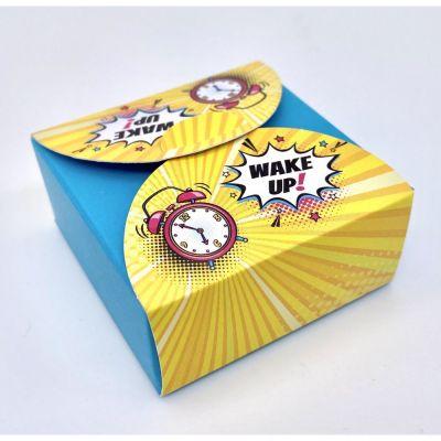 Scatolina portaconfetti POP ART - WAKE UP sfondo TIFFANY BOMBONIERA