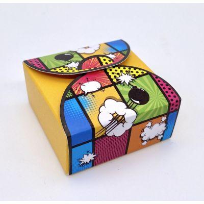 Scatolina portaconfetti POP ART - MINA BOMBA sfondo GIALLO BOMBONIERA