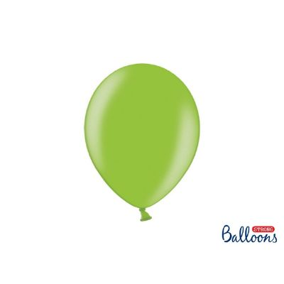 100 PZ Palloncino Palloncini Lattice 27 cm VERDE LUMINOSO metallic