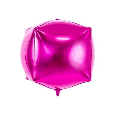 Palloncino Foil Mylar a forma di cubo 35x35x35 cm FUXIA