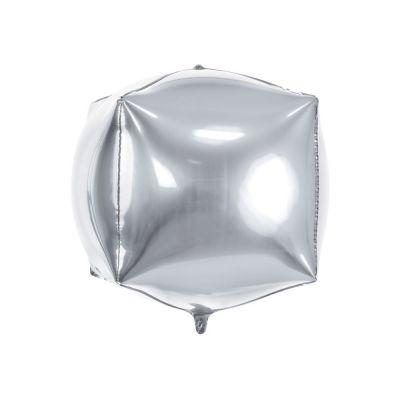 Palloncino Foil Mylar a forma di cubo 35x35x35 cm ARGENTO