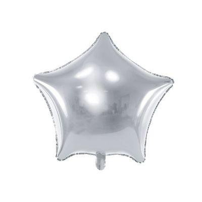 Palloncino Foil mylar a forma di stella ARGENTO 48 cm