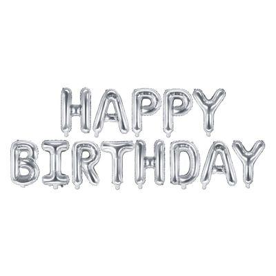 Palloncino foil mylar compleanno HAPPY BIRTHDAY ARGENTO 340x35 cm