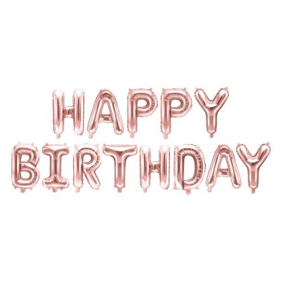 Palloincino foil mylar compleanno HAPPY BIRTHDAY ROSA GOLD 340x35 cm