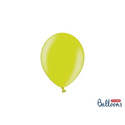 100 PZ Palloncino Palloncini Lattice 27 cm VERDE LIME metallic