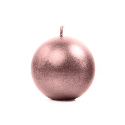 10  PEZZI Candela Sferica da 6 cm ROSA GOLD Metallic